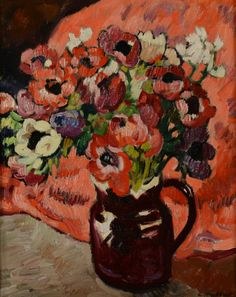 Louis VALTAT (1869-1952) Bouquet d'anemones au fond rouge, circa 1918 Huile sur toile d'origine Sold 25 000€ with Artprecium #artauction