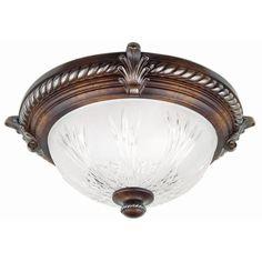 Hampton Bay Bercello Estates 2-Light Volterra Bronze Flush-Mount-08058 - The Home Depot