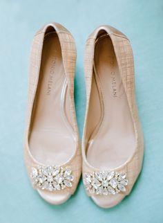 Chic jeweled peep-toe flats: http://www.stylemepretty.com/vault/gallery/38325 | Photography: Faith Teasley - http://faithteasley.com/