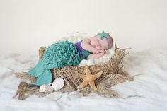 BESTSELLER re-listed! SALE Crocheted Newborn Mermaid Outfit Baby by CuteasaFoxShoppe