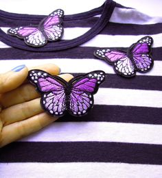 Purple butterly patch - Iron-on butterfly applique - Embroidered butterfly - Butterfly iron on patch - Butterfly -  Purple iron on patch by BrightonBabe on Etsy