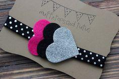 Glitter and felt heart headband - baby, toddler, girs bow headband - pink and silver