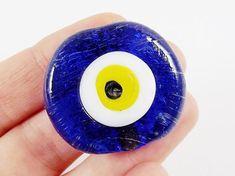 Medium 36mm  Navy Blue Evil Eye Nazar Glass Bead  by LylaSupplies