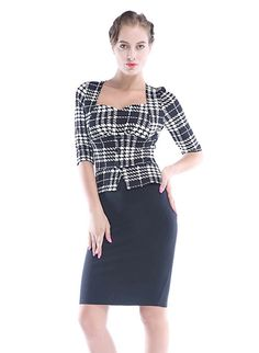 636cca394a Women s Sexy Half Sleeves Stretchy Plaid Bodycon Cocktail Party Pencil Midi  Office Dress Office Dresses