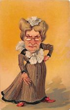 B2180 Illustration Angry Old Lady artist signed front/back scan