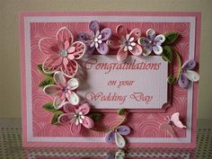 "Handmade Pink Purple Greeting Paper Quilling Card ""Congratulation on your Wedding Day "" with Quilled Flowers (Wedding, Anniversary) by FromQuillingWithLove"