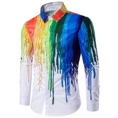 14.79$  Watch now - http://dile6.justgood.pw/go.php?t=202513605 - Turndown Collar Colorful Splatter Paint Print Long Sleeve Shirt 14.79$