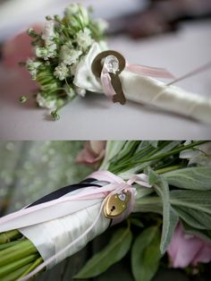 Vintage lock and key in the bride's bouquet and groom's buttonhole (One Love, One Day: Key Theme) #wedding #vintage