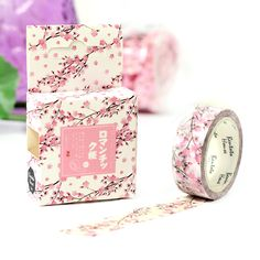 Washi Tape - Pink Cherry Blossom Flower - 7m - Cute stationery, cute notebooks, cute pencil cases & cute pens all at great prices - Cute Stationery Shop