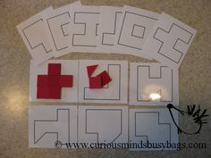 Square Tile Outline Puzzle You get 6 double-sided laminated cards (printed on cardstock) for a total of 12 different puzzles.  Each card can be rotated to total 45 different patterns.  You also get foam squares to build with.  Place the squares on the shape to build it, or as an extra challenge, build the shape off the card!  $5.75