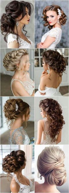 Top left Evening Gown Hairstyles, Bridal Hairstyles, Formal Hairstyles, Best Wedding Hairstyles, Up Hairstyles, Wedding Hair Styles, Hairdo Wedding, Hair Styles Party, Curly Hair Styles