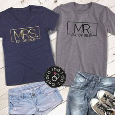 Mr. and Mrs. with Est. Date Relaxed V-Neck and T-Shirt Set /// #beforetheidos #mrandmrs #justmarried #wifey #hubby #honeymoon