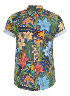 Blue Tropical Print Short Sleeve shirt
