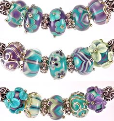 Handmade lampwork beads created by glass artist Kandice Seeber - large hole beads for your European charm bracelets, and small beads for your jewelry designing needs.
