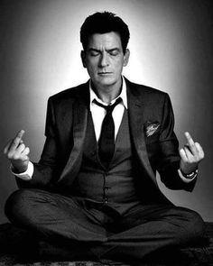 Charlie Sheen- demostrating the proper meditation pose.