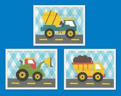 Perfect trio prints for boy nursery or children's room - construction theme…