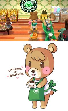 caffebear:  so I have a cafe in my house called Bearbucks… whenever villagers come over I like to push them behind the counter and make them...