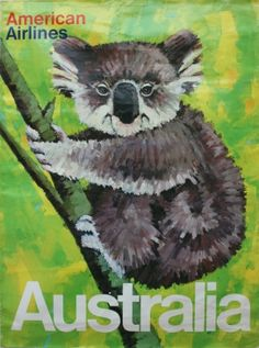 Australia, 1970s - original vintage travel advertising poster for American Airlines by Robert Jones featuring a koala bear, listed on AntikBar.co.uk