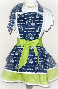 Seattle Seahawks Womens Apron Hostess by NeedlesKnotsnBows on Etsy, $38.00