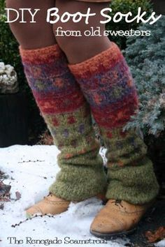 - DIY Sweater Boot Socks  also an upcycled purse from a sweater ; ) Need to go somewhere chilly
