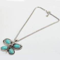 'Butterfly Turquoise and Tibetan Silver necklace' is going up for auction at  3am Sun, Dec 2 with a starting bid of $9.