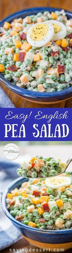 Easy and delicious - English Pea Salad is a wonderful, hearty side dish loaded with hard cooked eggs, a little bacon, (because everything's better with bacon) minced red onion, and cheddar cheese all blended together with a creamy dressing. savingdessert.com #savingroomfordessert #peasalad #englishpeasalad #englishpeas #peas #salad #makeaheadsalad #southernpeasalad