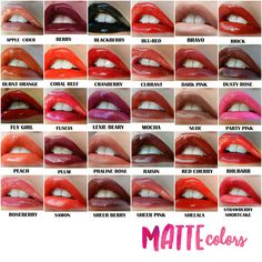 Here are our Matte colors :) This lip color lasts up to 18 hours!  Waterproof…