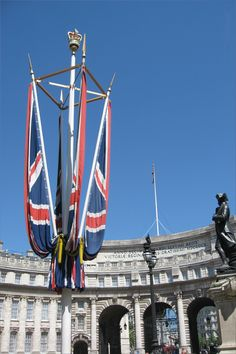 The British flag near County Hall - Union Jack in London, UK, Great Britain