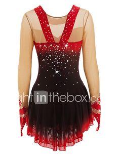 Robe de Patinage Artistique Femme Fille Patinage Robes Noir/Rouge Rouge + noir. Spandex Haute élasticité Utilisation Tenue de Patinage de 2018 ? $233.41