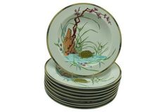 English Aesthetic Soup Plates, S/9