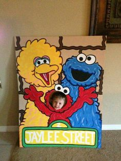 Lets Be Elmo Sesame Street 3 Character Photo Party Cut-Out Prop Standee Baby 1st Birthday, First Birthday Parties, Birthday Party Themes, Birthday Ideas, 1st Birthdays, Anniversaire Elmo, Elmo Party, Mickey Party, Dinosaur Party