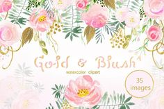 Gold & blush watercolor flowers