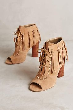 Cynthia Vincent Peep-Toe Fringe Booties - anthropologie.com