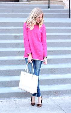 Hot Pink (life with lyss) Casual Outfits, Cute Outfits, Fashion Outfits, Womens Fashion, Pink Top Outfit, Hot Pink Tops, Street Style, Fashion Addict, Passion For Fashion