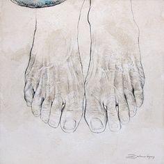 Feet & Books - series of paintings on canvas