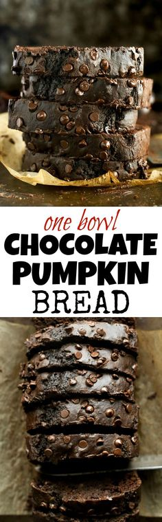 Chocolate Pumpkin Bread made in ONE BOWL, and so tender and flavourful that you'd never guess it's naturally sweetened and made without butter or oil! | http://runningwithspoons.com