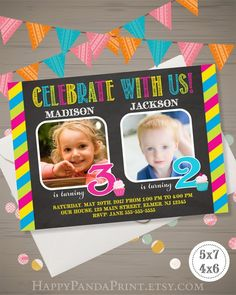Joint Birthday Invitation With Photo Twins Cupcake Double Siblings Party