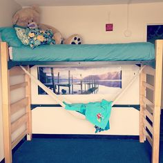 getting creative in the dorms with my loft and hammock! :D