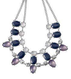"Cosmic Dust Adjustable 16-21"" Necklace You'll make a statement across the galaxies with this unique combination of resin stones in lilac, navy blue and milky white with cut crystals for a bit of sparkle. Limited Quantity. Lifetime Guarantee"