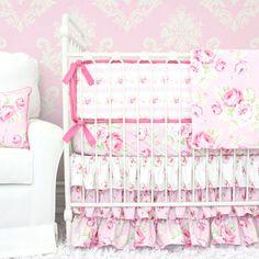 Shabby Chic Roses Ruffle Baby Girl Bedding by CadenLaneBabyBedding