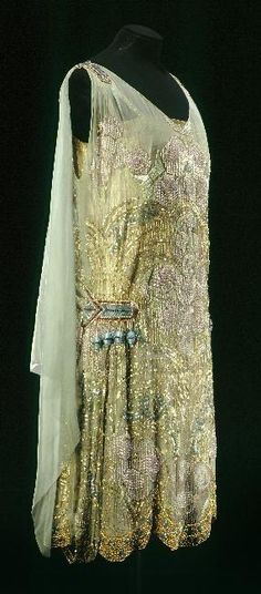 Maison Agnès, Beaded  Embroidered Evening Dress of Green Watered Silk, Paris, c. 1925