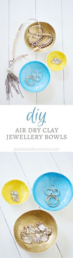DIY Air Dry Clay Jewellery Bowls by Pastels & Macarons