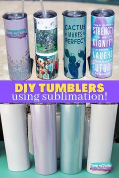 Learn how to make your own sublimation tumblers at home with a mug press and both infusible ink and sublimation printing. Step by step tutorials on both! Crafts To Make, Easy Crafts, Craft Tutorials, Diy Projects, Faith Crafts, Mug Press, Diy Tumblers, She Is Clothed, Leap Of Faith
