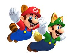 Raccoon Mario and Raccoon Luigi in New Super Mario Bros 2