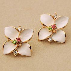 Four Flowers Flash Diamond Earrings Fashion Enamel Four Grass Earrings