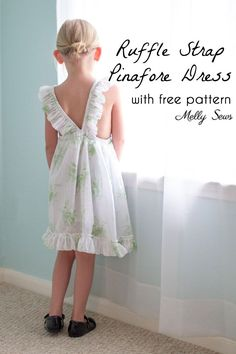 Sewing For Kids Clothes Sew a Ruffle Strap Pinafore Dress - Apron Dress for Girls - with free pattern and video tutorial on Melly Sews - Sew a Ruffle Strap Pinafore Dress - Apron Dress for Girls - with free pattern and video tutorial on Melly Sews Sewing Patterns Girls, Toddler Dress Patterns, Girl Dress Patterns, Sewing For Kids, Free Sewing, Clothing Patterns, Skirt Patterns, Coat Patterns, Blouse Patterns