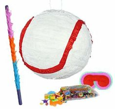 "Baseball 10"" Pinata Party Pack Including Pinata, Pinata Candy and Toy Filler, Buster and Blindfold by Unique. $40.99. Includes Baseball 10"" Pinata . Includes approximately 2 pounds of Candy and Toys. Caution: not recommended for children under 3 years of age. Includes one hard Plastic Pinata Buster that measures approximately 30"". Caution: use only under adult supervision. Includes one Blindfold with Elastic String. Measures 7"" long x 5.5"" high."