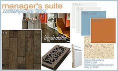 I created this design board for my Materials and Resources I interior design class. Interior Design Classes, Interior Design Boards, Pallet Designs, Color Boards, Presentation Design, Color Pallets, Wood Design, Engineered Wood, School Design