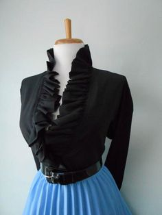 Vintage Sexy 1950s 1960s BLACK Long Sleeve Blouse w  Ruffle Neck & Cuffs by bluebarnvintage on Etsy https://www.etsy.com/listing/265623213/vintage-sexy-1950s-1960s-black-long