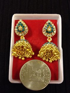 Indian jewelry - small blue golden earrings | HDaccessories